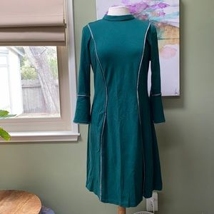 Eloquii forest green dress with herringbone piping